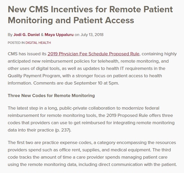New CMS Incentives for Remote Patient Monitoring