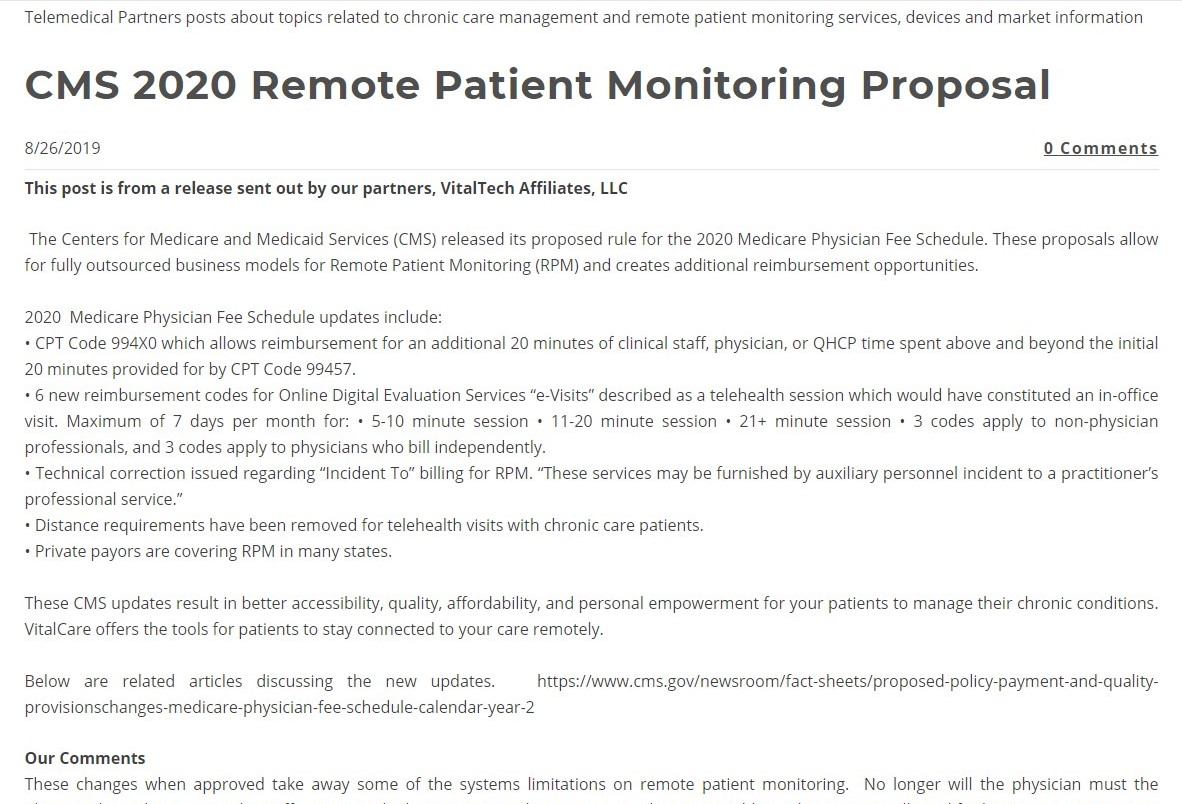 CMS 2020 Remote Patient Monitoring Proposal