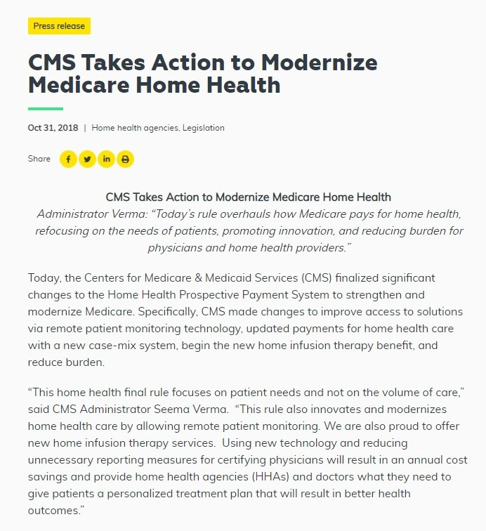 CMS Takes Action to Modernize Medicare Home Health